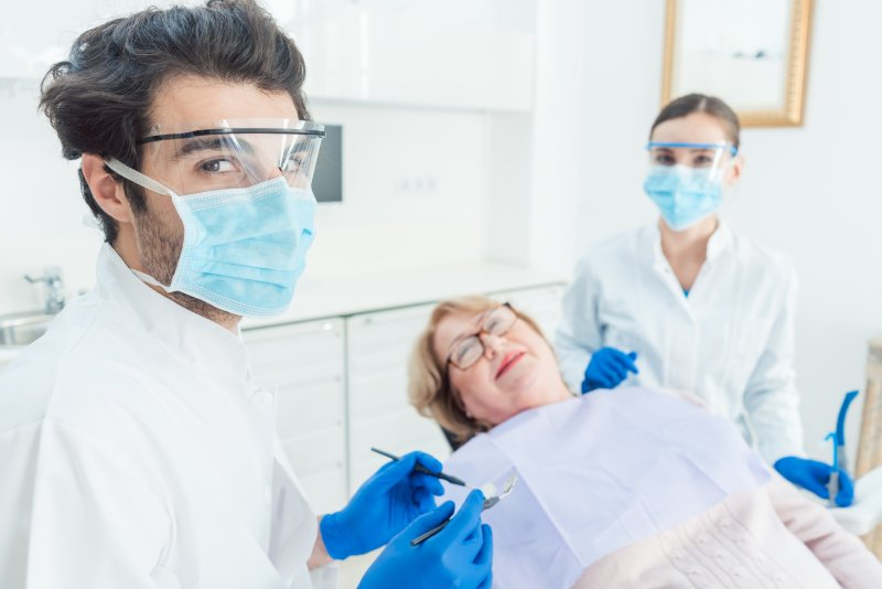 Dentist in North Raleigh wearing PPE